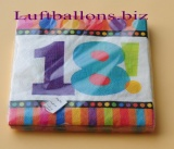 Servietten zum 18. Geburtstag, Papierservietten, Tischdekoration, Happy Birthday, Dots and Stripes