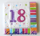 Servietten zum 18. Geburtstag, Papierservietten, Tischdekoration, Happy Birthday, Radiant
