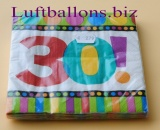 Servietten zum 30. Geburtstag, Papierservietten, Tischdekoration, Happy Birthday, Dots and Stripes