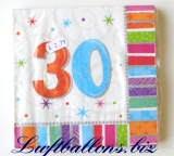 Servietten zum 30. Geburtstag, Papierservietten, Tischdekoration, Happy Birthday, Radiant
