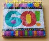 Servietten zum 60. Geburtstag, Papierservietten, Tischdekoration, Happy Birthday, Dots and Stripes