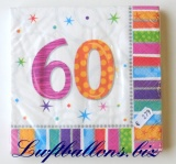Servietten zum 60. Geburtstag, Papierservietten, Tischdekoration, Happy Birthday, Radiant