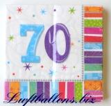 Servietten zum 70. Geburtstag, Papierservietten, Tischdekoration, Happy Birthday, Radiant