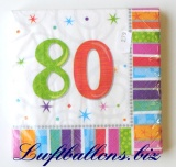 Servietten zum 80. Geburtstag, Papierservietten, Tischdekoration, Happy Birthday, Radiant
