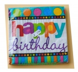 Servietten zum Geburtstag, Papierservietten, Tischdekoration, Happy Birthday, Dots and Stripes