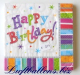 Servietten zum Geburtstag, Papierservietten, Tischdekoration, Happy Birthday, Radiant