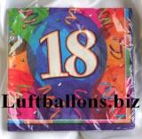 Servietten zum 18. Geburtstag, Papierservietten, Tischdekoration, Happy Birthday, Brilliant Balloons