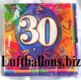 Servietten zum 30. Geburtstag, Papierservietten, Tischdekoration, Happy Birthday, Brilliant Balloons