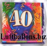 Servietten zum 40. Geburtstag, Papierservietten, Tischdekoration, Happy Birthday, Brilliant Balloons