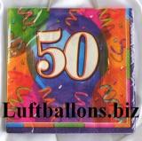 Servietten zum 50. Geburtstag, Papierservietten, Tischdekoration, Happy Birthday, Brilliant Balloons