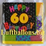 Servietten zum 60. Geburtstag, Papierservietten, Tischdekoration, Happy Birthday, Infinite Birthday