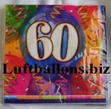Servietten zum 60. Geburtstag, Papierservietten, Tischdekoration, Happy Birthday, Brilliant Balloons