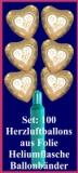 Luftballons Helium Set Goldene Hochzeit, 100 Folien-Herzluftballons, 50th, mit Ballongas