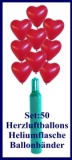 Luftballons Helium Set Hochzeit, 50 rote Herzluftballons mit Ballongas