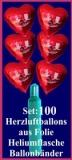 Luftballons Helium Set Hochzeit, 100 Folien-Herzluftballons Rot, Alles Gute zur Hochzeit, mit Ballongas