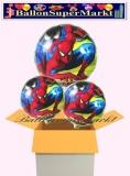 Spiderman Rundluftballons mit Helium, Kindergeburtstag Geschenke, 3 Stück