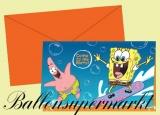 Einladungskarten mit Umschlag, Kindergeburtstag, Spongebob, Schwammkopf