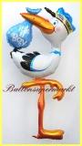 Klapperstorch zur Geburt eines Jungen, Deko-Luftballon aus Folie mit Helium