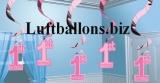 Partydekoration zum 1. Geburtstag, Wirbler-Dekoration, 1st Birthday, Rosa, 5 Stück