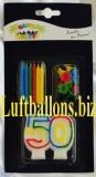 Geburtstagskerzen-Set, Tortenkerzen, Geburtstagskerzen mit der Zahl 50