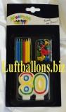 Geburtstagskerzen-Set, Tortenkerzen, Geburtstagskerzen mit der Zahl 80