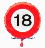 Geburtstagsgeschenk, Luftballon mit Helium im Karton, Verkehrsschild Zahl 18, 18. Geburtstag