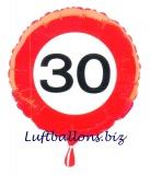 Geburtstagsgeschenk, Luftballon mit Helium im Karton, Verkehrsschild Zahl 30, 30. Geburtstag