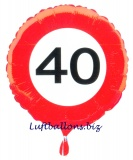 Geburtstagsgeschenk, Luftballon mit Helium im Karton, Verkehrsschild Zahl 40, 40. Geburtstag