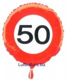 Geburtstagsgeschenk, Luftballon mit Helium im Karton, Verkehrsschild Zahl 50, 50. Geburtstag