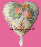 Luftballon zur Hochzeit, Wedding Wishes mit Blumen und Hochzeitsglocken, inklusive Helium