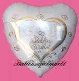 Luftballon zur Hochzeit, Wedding Wishes mit Hochzeitstauben, mit Helium