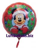 Weihnachtsmann-Luftballon, Micky Maus mit Helium, Geschenk zu Weihnachten
