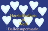 Herzluftballons, Herzballone, Luftballons in Herzform, 100 Stück, Weiß, 30-33 cm