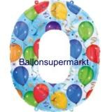 Folien-Luftballon Balloons and Streamers, Zahl 0
