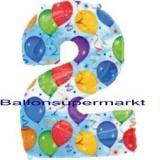 Folien-Luftballon Balloons and Streamers, Zahl 2