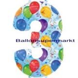 Folien-Luftballon Balloons and Streamers, Zahl 3
