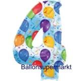 Folien-Luftballon Balloons and Streamers, Zahl 4