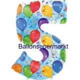Folien-Luftballon Balloons and Streamers, Zahl 5