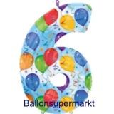 Folien-Luftballon Balloons and Streamers, Zahl 6