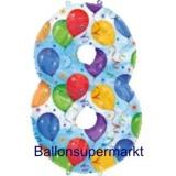 Folien-Luftballon Balloons and Streamers, Zahl 8