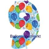 Folien-Luftballon Balloons and Streamers, Zahl 9