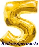 Zahlen-Luftballon Gold, Zahl 5