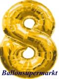 Zahlen-Luftballon Gold, Zahl 8
