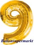 Zahlen-Luftballon Gold, Zahl 9