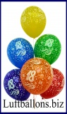 Zahlen-Luftballons, Zahl 18, Kristallfarben, 25 Stück