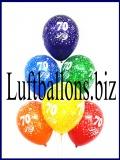 Zahlen-Luftballons, Zahl 70, Kristallfarben, 10 Stück