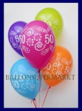 Zahlen-Luftballons, Zahl 50, 25 Stück